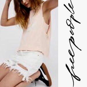 Free People Planet Me Tank Raw Edges Overlaying